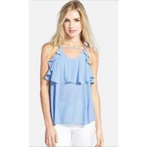 J.O.A | New Ruffle Blue Tie Blouse Med